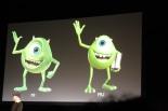 Mike a la izquierda como se veía en la primera película, a la derecha como se vera ahora. (Foto/Picture by:  Disney/Pixar)