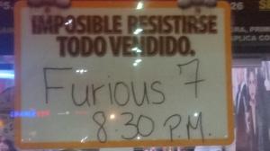 Un letrero del Cine Rio Hondo 2 en la cuidad de Bayamón Puerto Rico a dos días del estreno de Furious 7 (Rápidos y Furiosos 7)   (Foto:  Archivo/SoundCinemas/Gabriel Rodríguez Acevedo)