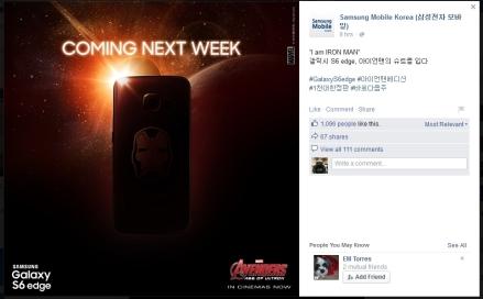 """""""Yo soy Iron Man"""" Edge Galaxy S6, se puso un traje de Iron Man # # GalaxyS6edge Iron Man Edición 1000 Edición Limitada # # siguiente a la derecha"""