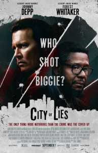 El cartel (poster) promocional de la pelicula CITY OF LIES protagonizada por Johnny Depp