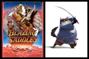 Blazing Saddles re-imaginada como Blazing Samurai. Imagen comparativa del poster original vs la animacion de prueba