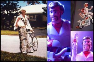 Una comparacion entre Evel Knievel (izq) y Duke Caboom (Derecha)