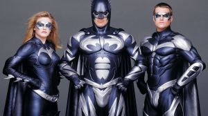Alivia Silverstone, George Clooney, y Chris O' Donnell en Batman & Robin (1997)
