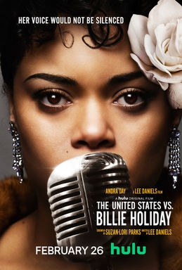 Poster (Cartel promocional) de película biográfica estadounidense de 2021 sobre la cantante Billie Holiday